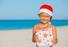 Little boy in santa hat Stock Photography