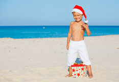 Little boy in santa hat Stock Image