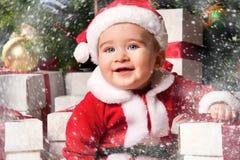 Little boy in Santa hat Stock Photo