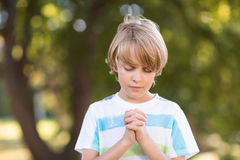Little boy saying his prayers Stock Photography