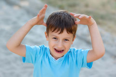 Little boy scare Stock Images