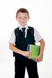 Little boy with a school backpack and books Stock Photos