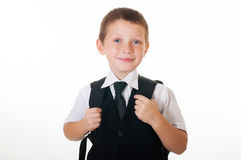 Little boy with a school backpack Stock Photo
