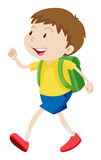 Little boy with schoolbag walking Royalty Free Stock Photo
