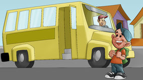 Little boy and schoolbus Stock Images