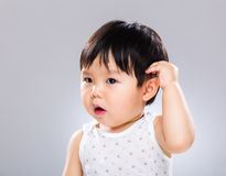 Little boy scratch head Stock Photography