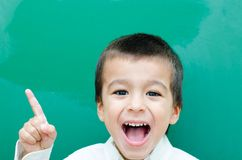 Little Boy Screaming. Very Happy at Blackboard Stock Images