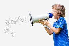 Little boy screaming in megaphone Stock Photos