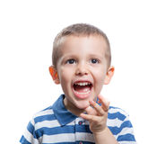 Little boy screaming. Portrait of screaming beautiful little boy isolated on white background Stock Photography