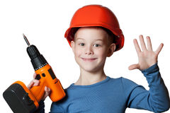 Little boy with screwdriver Stock Image