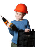 Little boy with screwdriver Royalty Free Stock Images