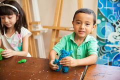 Little boy in sculpture class Stock Photography