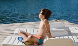 Little boy at the sea Royalty Free Stock Photos