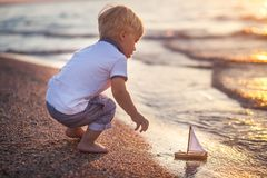 Little boy and sea Stock Image
