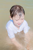 Little boy in the sea Royalty Free Stock Image