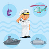Little boy seaman with a warship, submarine and helicopter Stock Photos