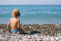 Little boy on the seashore Royalty Free Stock Images