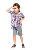 Little boy seeking with visor hand. Isolated on white Royalty Free Stock Image