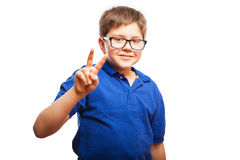 Little boy sends peace and love Royalty Free Stock Photo
