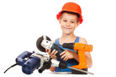 Little boy with a set of tools Stock Images
