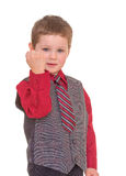 Little boy shakes his fist. Royalty Free Stock Photo