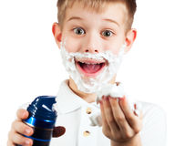 Little boy in shaving foam. isolated Stock Photo