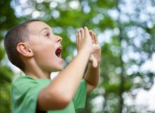 Little boy shouting in the forest Stock Photos