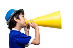 Little boy shouting with the megaphone on white bakcground Stock Images