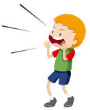 Little boy shouting out Stock Photo