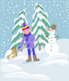 Little boy shoveling snow on home drive way.  Stock Images