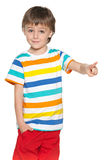 Little boy show his finger forward stock images