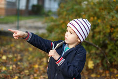 Little boy showing away at autumn Stock Photos
