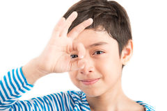 Little boy showing hand ok close up pose isolate Stock Image
