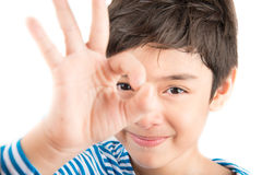Little boy showing hand ok close up pose isolate Royalty Free Stock Photo