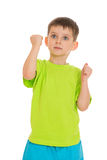 Little boy showing his fists Royalty Free Stock Images
