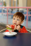 Little boy showing ice cream is cold Stock Photography