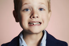 Little boy showing that he lost first milk tooth Royalty Free Stock Photography