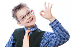 Little boy showing Ok sign Stock Image