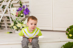 Little boy showing stomach pain Royalty Free Stock Photo