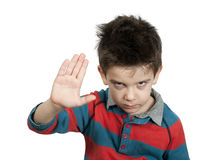 Little boy showing stop with his hand Stock Photos