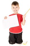 Little boy shows that draws Stock Photography