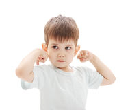 The little boy shows the force Royalty Free Stock Images