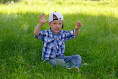 Little boy shows a growling tiger Stock Images