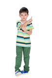 Little boy shows his finger back Stock Photography