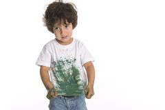 Little Boy Shows His Shirt Full Of Paint Royalty Free Stock Photo