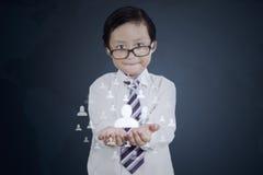 Little boy shows social media icon Royalty Free Stock Photos