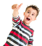 Little boy shows thumb up gesture Stock Photos