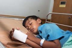 Little boy sick sleep in the Hospital Stock Image