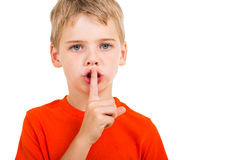 Little boy silence gesture Royalty Free Stock Images