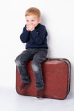 A little boy is silling on a trunk. A little boy laughing sits on a trunk and closing his mouth with his hands Stock Photo